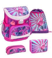 Belmil Mini Fit Schulranzen Set 4-tlg. - TROPICAL FLAMINGO