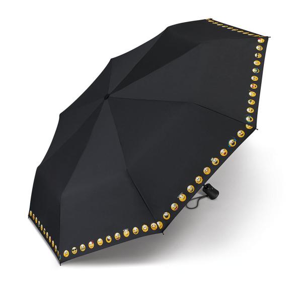 Regenschirm Mini AC Emoticon - BLACK BORDURE