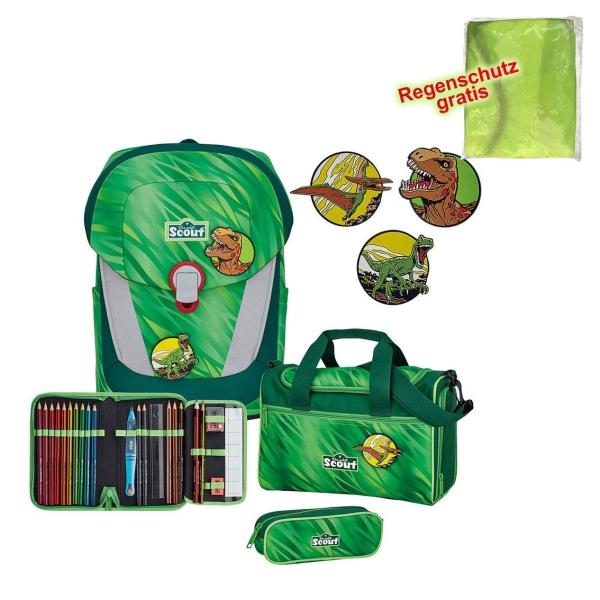 Scout Schulranzen Sunny II - GREEN REX - Set 5-tlg.