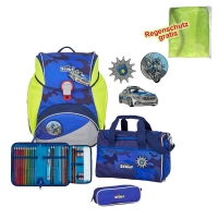 Scout Schulranzen Alpha - BLUE POLICE - Set 5-tlg.